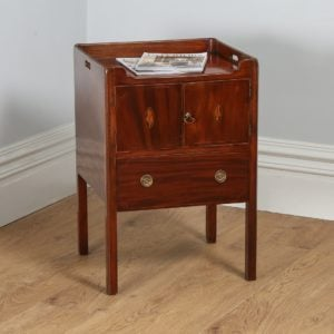 Antique Georgian Regency Mahogany Inlaid Bedside Cabinet / Commode (Circa 1820)