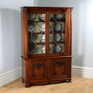 Antique Victorian Art Nouveau Mahogany Glass Bookcase by James Schoolbred & Co.