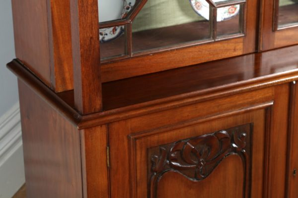 Antique Victorian Art Nouveau Mahogany Glass Bookcase by James Schoolbred & Co.