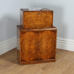 Antique Art Deco Figured Walnut Office Writing Bureau / Desk by Rurka (Circa 1930)
