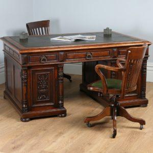 "Antique French 5ft 2⅝"" Oak & Leather Carved Partners Pedestal Desk (Circa 1850)"