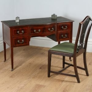 Antique Edwardian Ladies Inlaid Mahogany & Leather Bow Front Writing Table / Desk (Circa 1910)