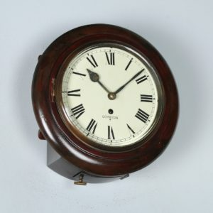"English Victorian 11"" Mahogany London Fusee Round Dial Wall Clock Time Piece (Circa 1890)"