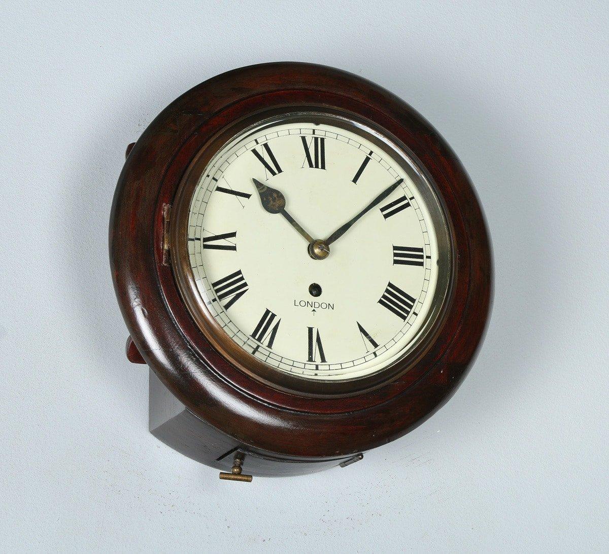 Victorian style 11 mahogany fusee railway station school wall clock english victorian 11 mahogany london fusee round dial wall clock time piece circa 1890 amipublicfo Gallery