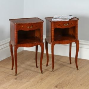 Pair of French Louis XVI Style Tulipwood, Kingwood & Marquetry Serpentine Bedsides