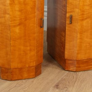 Antique Pair of Art Deco Sycamore Bedside Cabinets (Circa 1930)