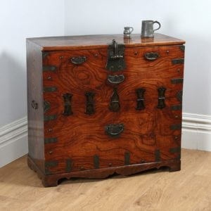 Antique Regency Colonial Elm Campaign Tea Chest (Circa 1820)
