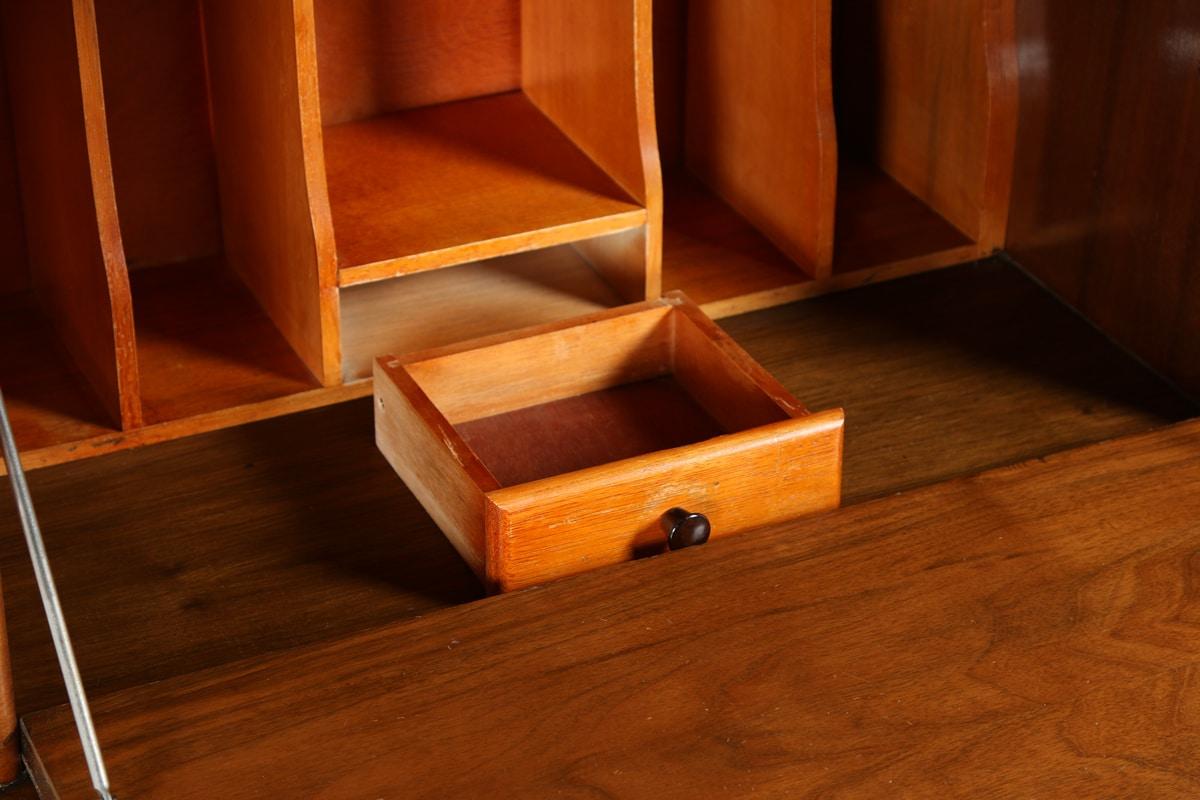 antique art deco figured walnut office writing bureau desk by rurka circa 1930 antique. Black Bedroom Furniture Sets. Home Design Ideas