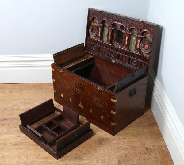 Antique Victorian Burmese Colonial Teak & Brass Chiming Mandalay Box (Circa 1860)