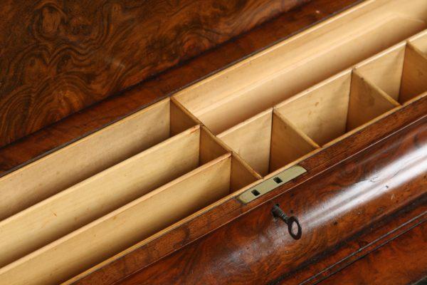 Antique Victorian English Burr Walnut Kidney Shaped Leather Desk (Circa 1860)
