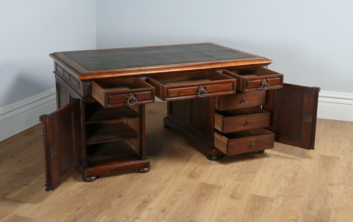 Antique French 5ft 2⅝ Oak Leather Carved Partners Pedestal Desk Circa 1850