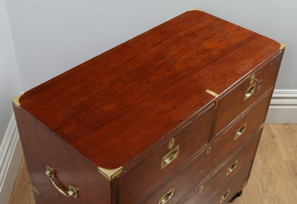 Antique Victorian Colonial Anglo Indian Teak & Brass Campaign Chest of Drawers (Circa 1880)