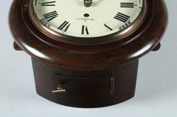 "English Victorian 11"" Mahogany London Fusee Round Dial Wall Clock Time Piece (Circa 1890)"