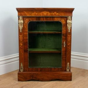 Antique Burr Walnut Inlaid Victorian Pier Cabinet (Circa 1850)