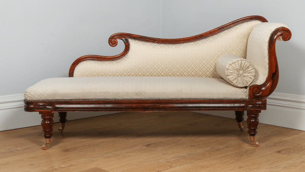 antique william iv rosewood silk chaise longue circa 1840 yolanda gray antiques. Black Bedroom Furniture Sets. Home Design Ideas