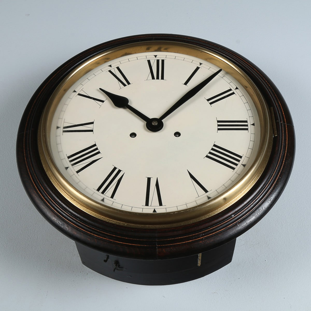 "Antique 16"" Oak Railway Station / School Round Dial Wall Clock (Chiming / Striking)"