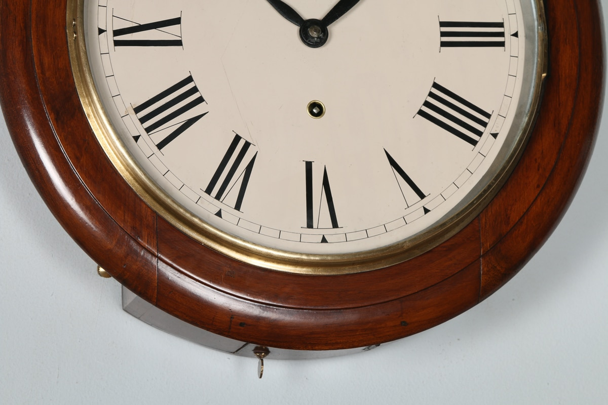 Antique 16 mahogany anglo swiss railway station school round dial wall clock antique - Swiss railway wall clock ...