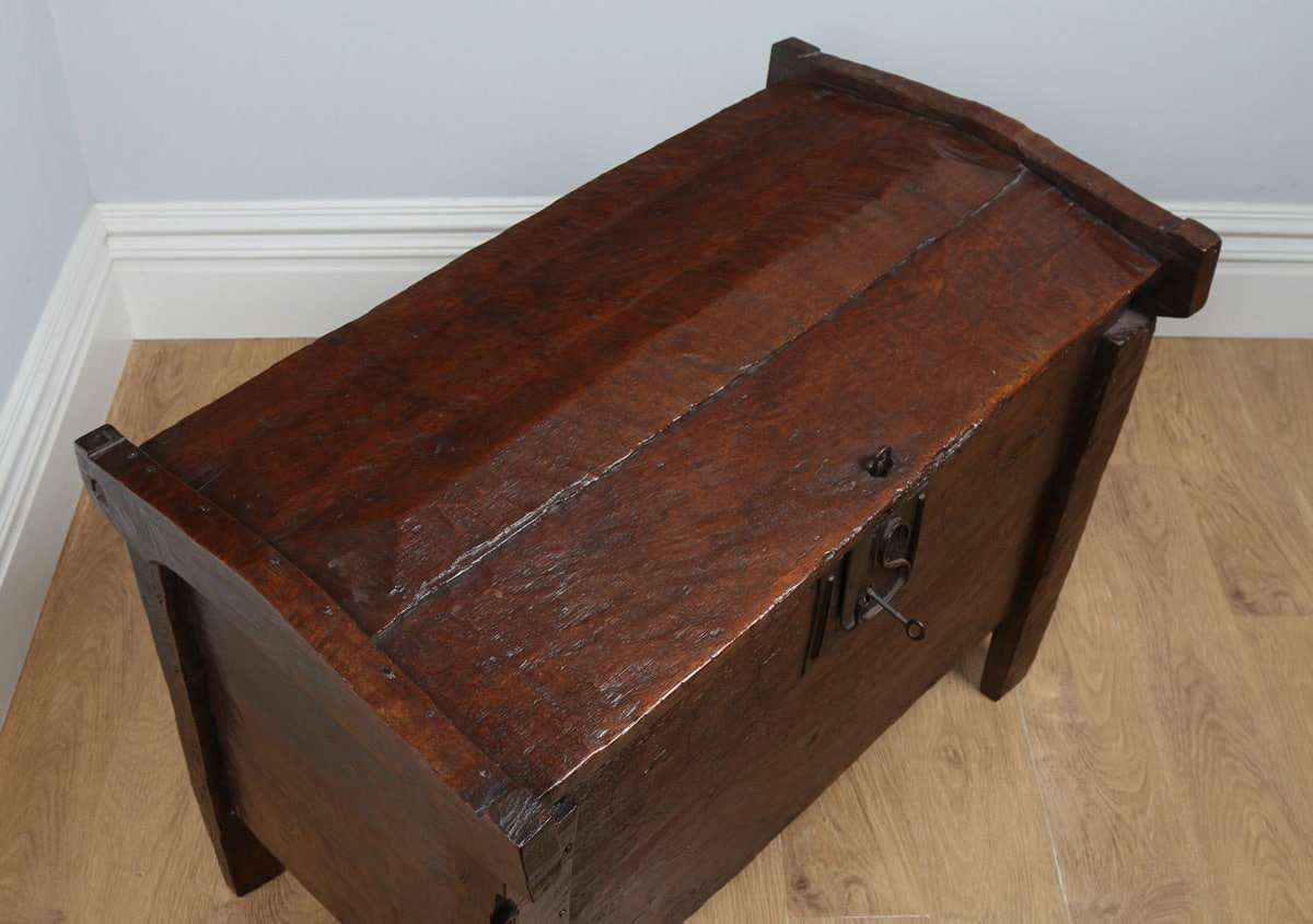 Antique English Oak Meal Ark Coffer Clamp Chest Circa