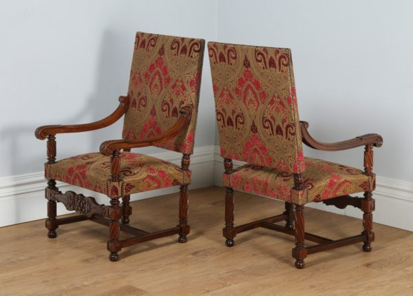 Antique Pair of Two French Walnut Fauteuil Upholstered Open Armchairs (Circa 1870)