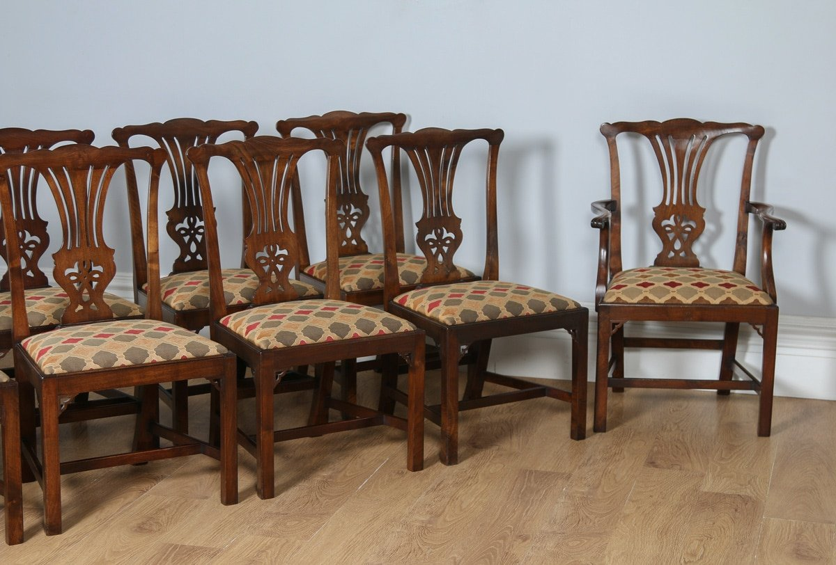 Antique upholstered chair styles - Antique Set Of 12 Georgian Chippendale Style Mahogany Upholstered Dining Chairs