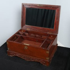 Antique Victorian Colonial Mahogany Jewellery / Sewing Box (Circa 1880)