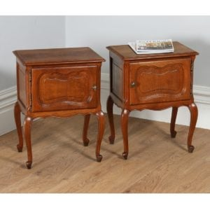 Pair of Antique French Louis XVI Revival Oak Bedside Cabinets (Circa 1920)