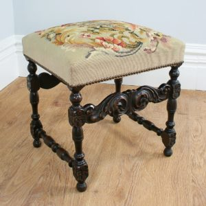 Antique French Carved Beech Tapestry Stool (Circa 1880)