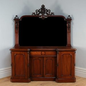 Antique Victorian Mahogany Mirrored Four Door Breakfront Chiffonier (c.1850)