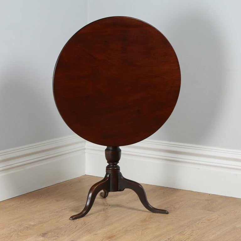 antique georgian english red walnut tilt top tripod table
