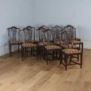 Antique Set of 12 English Georgian Hepplewhite Style Mahogany Dining Chairs (Circa 1920) - yolagray.com