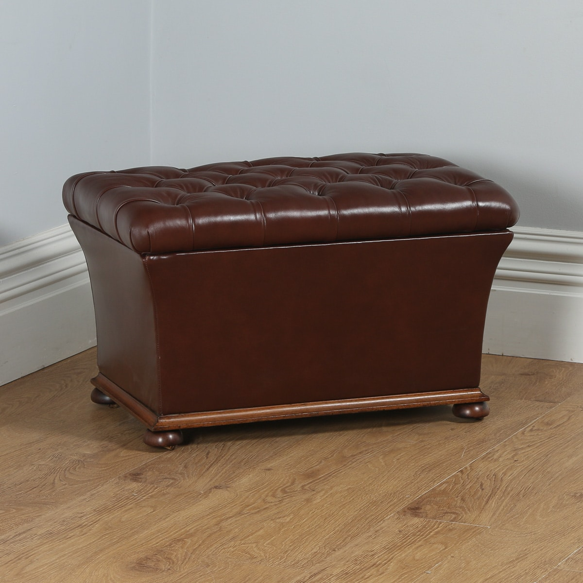Excellent Antique Victorian Brown Leather Ottoman Box Stool Circa Pdpeps Interior Chair Design Pdpepsorg