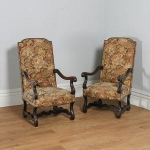 Antique French Pair of Walnut Upholstered Carved Fauteuil Armchairs (Circa 1880) - yolagray.com