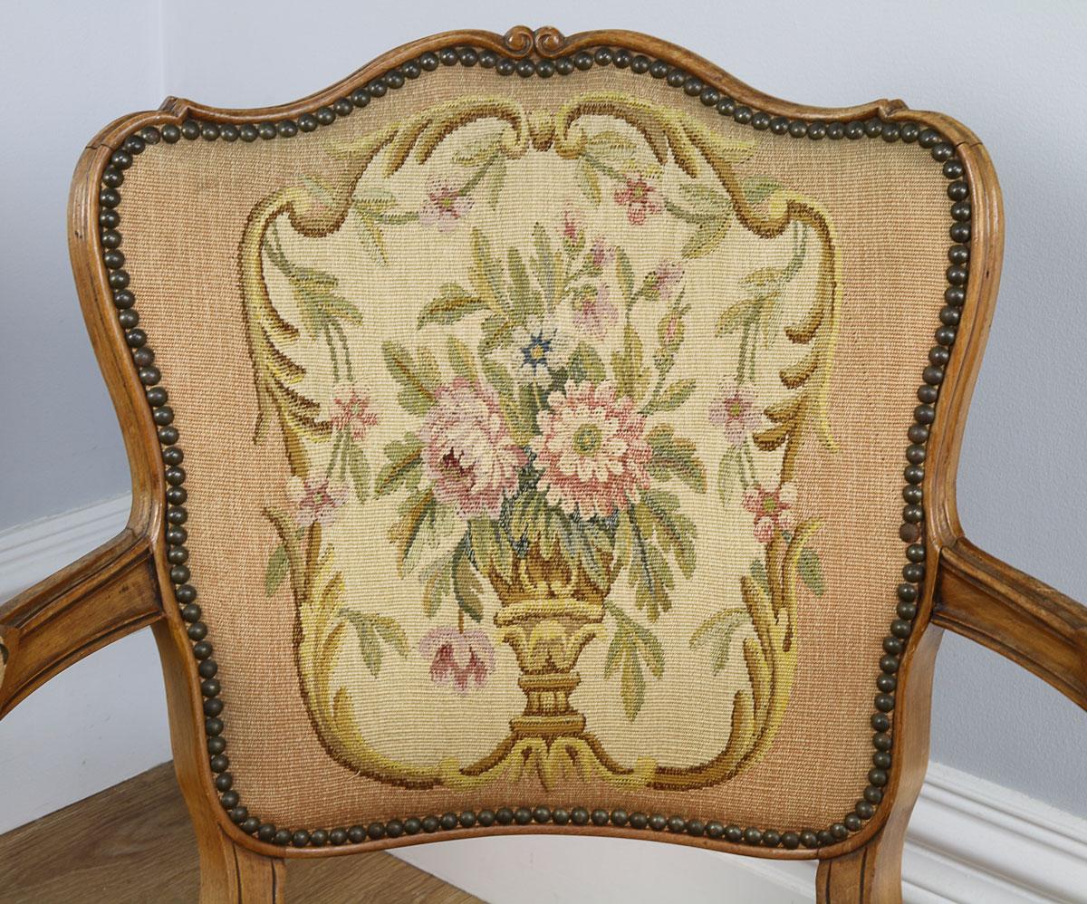 Antique pair of louis xv revival walnut salon armchairs circa 1900 yola gray antiques - Salon louis xv ...