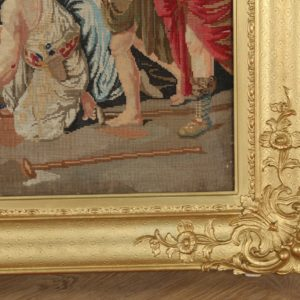 Antique Victorian English Berlin Tapestry in Carved Gilt Wood Frame (Circa 1860)