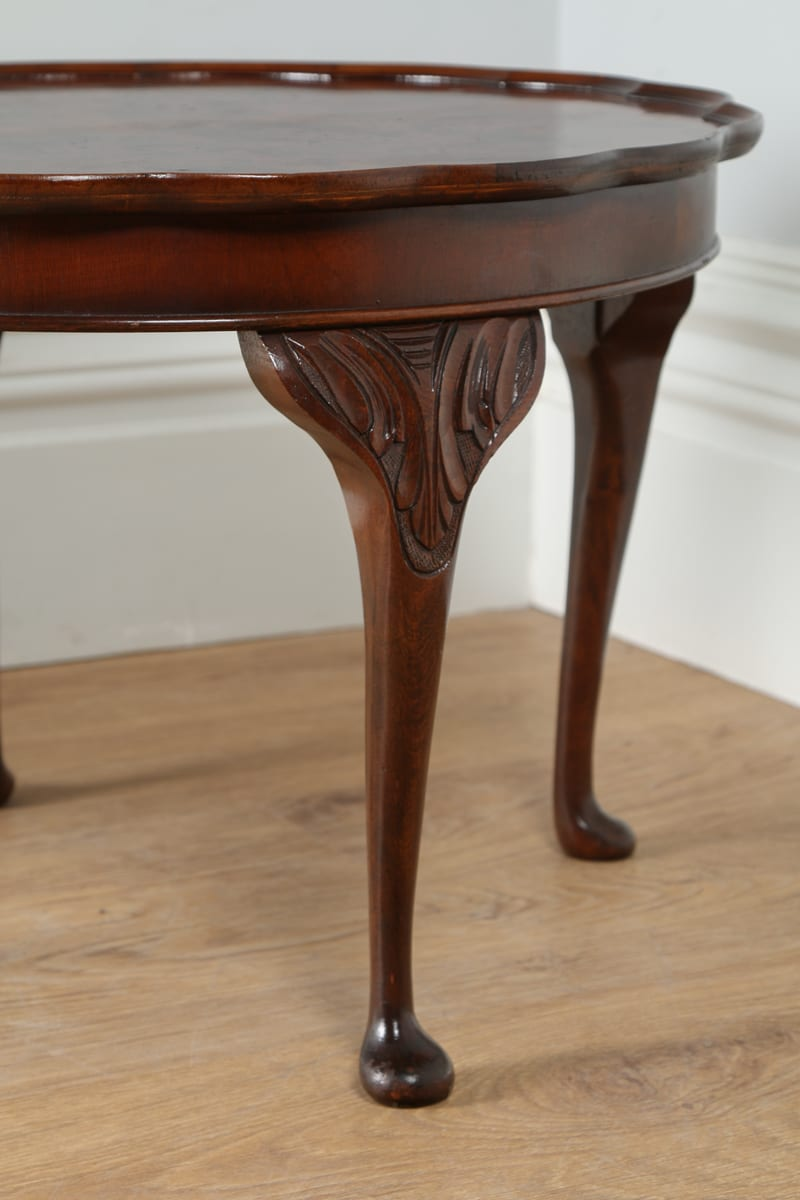 Queen Anne Style Burr Walnut Round Coffee Table By Cameo Circa 1960 Antique Furniture Four
