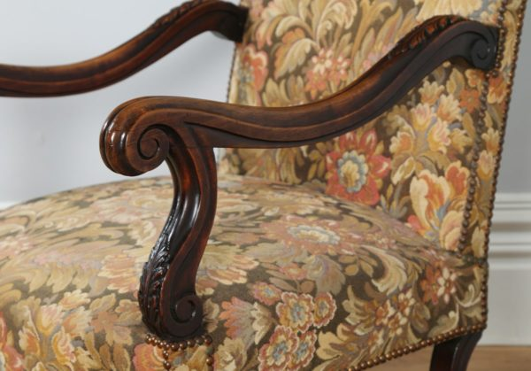 Antique Pair of Two French Walnut Fauteuil Upholstered Carved Armchairs (Circa 1880)