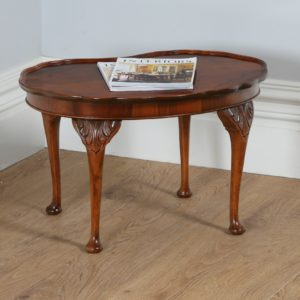 Antique Queen Anne Style Figured Walnut Kidney Shaped Coffee Table (Circa 1920)
