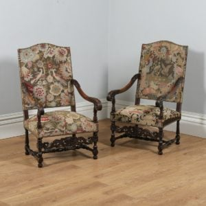 Antique Pair of French Walnut Fauteuil Upholstered Carved Open Armchairs (Circa 1850)