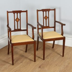Antique Pair of Edwardian Inlaid Mahogany Open Salon Armchairs (Circa 1900)