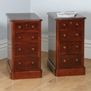 Pair of Antique Victorian Flame Mahogany Bedside Chests (Circa 1860)