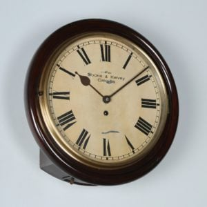 "Antique 16"" Mahogany Cooke & Kelvey Railway Station / School Wall Clock (Timepiece)"