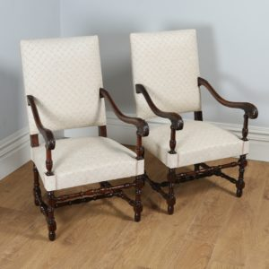 Antique Pair of French Walnut Fauteuil Upholstered Carved Armchairs (Circa 1870)