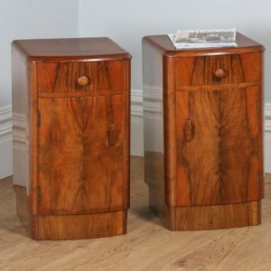 Antique Pair of Art Deco Figured Walnut Bedside Cabinets (Circa 1930)