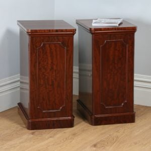 Antique Pair of Victorian Figured Mahogany Bedside Chests / Cabinets (Circa 1870)