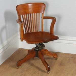 Antique Edwardian Oak Revolving Office Desk Armchair (Circa 1900)