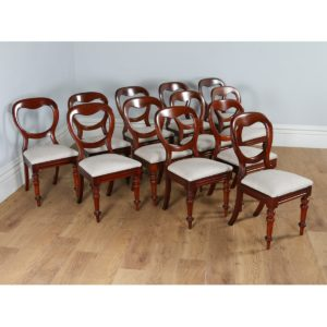 Antique Victorian Set of 12 Mahogany Balloon Back Upholstered Dining Chairs (Circa 1860)