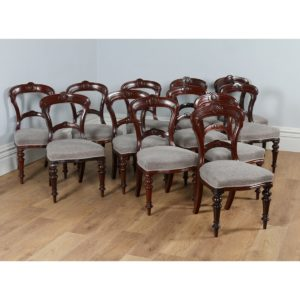 Antique Victorian Set of 12 Mahogany Carved Back Upholstered Dining Chairs (Circa 1880)