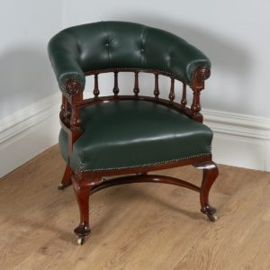Antique Victorian Mahogany Green Leather Office Desk Chair (Circa 1890)