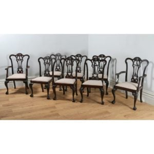 Antique Set of 8 Georgian Chippendale Style Carved Mahogany Dining Chairs (Circa 1880)