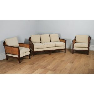 Antique George V Three Piece Mahogany & Cane Bergere Suite by Staples & Co. (Circa 1920)